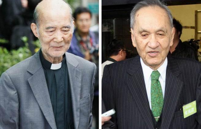 """长老教会牧师高俊明(左)、前""""资政""""彭明敏(右)"""