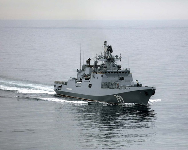 """""""马卡洛夫海军上将""""号护卫舰参与了此次演习"""
