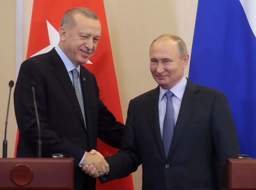 当地时间2019年10月22日,俄罗斯索契,俄罗斯总统普京与土耳其总统埃尔多安会晤。
