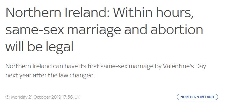 北爱尔兰加入 英国全境实现堕胎与同性婚姻合法化