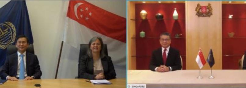 △图为新加坡与国际海洋法法庭线上签署示范协定 图片由新加坡律政部提供