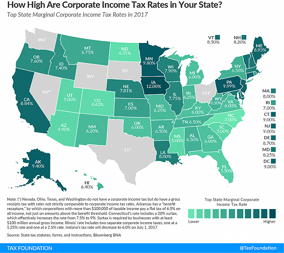 美国各州综合所得税率。图片来源:Tax Foundation