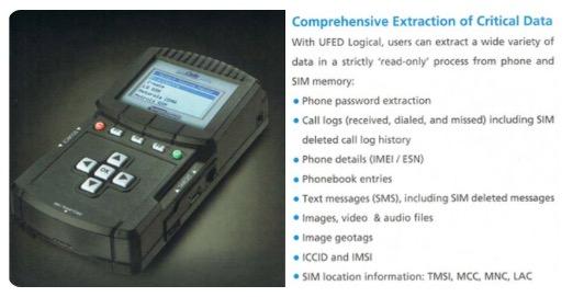 """(""""通用取证设备""""能从手机和SIM卡中挑取暗号、通话记录、短信、图片、音视频等数据,图片来自""""维基解密""""推特。)"""