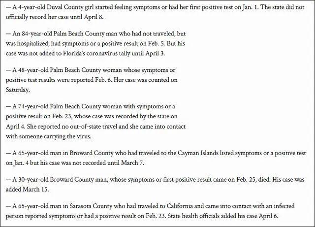 《棕榈滩邮报》整理的佛罗里达州最早出现症状的部分资料