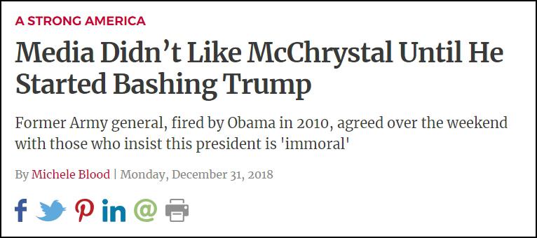 特朗普转发福克斯讯休主办人英格拉哈姆(Laura Ingraham)名下网站LifeZette的文章:《媒体并不爱麦克里斯特尔,直到他最先袭击特朗普》