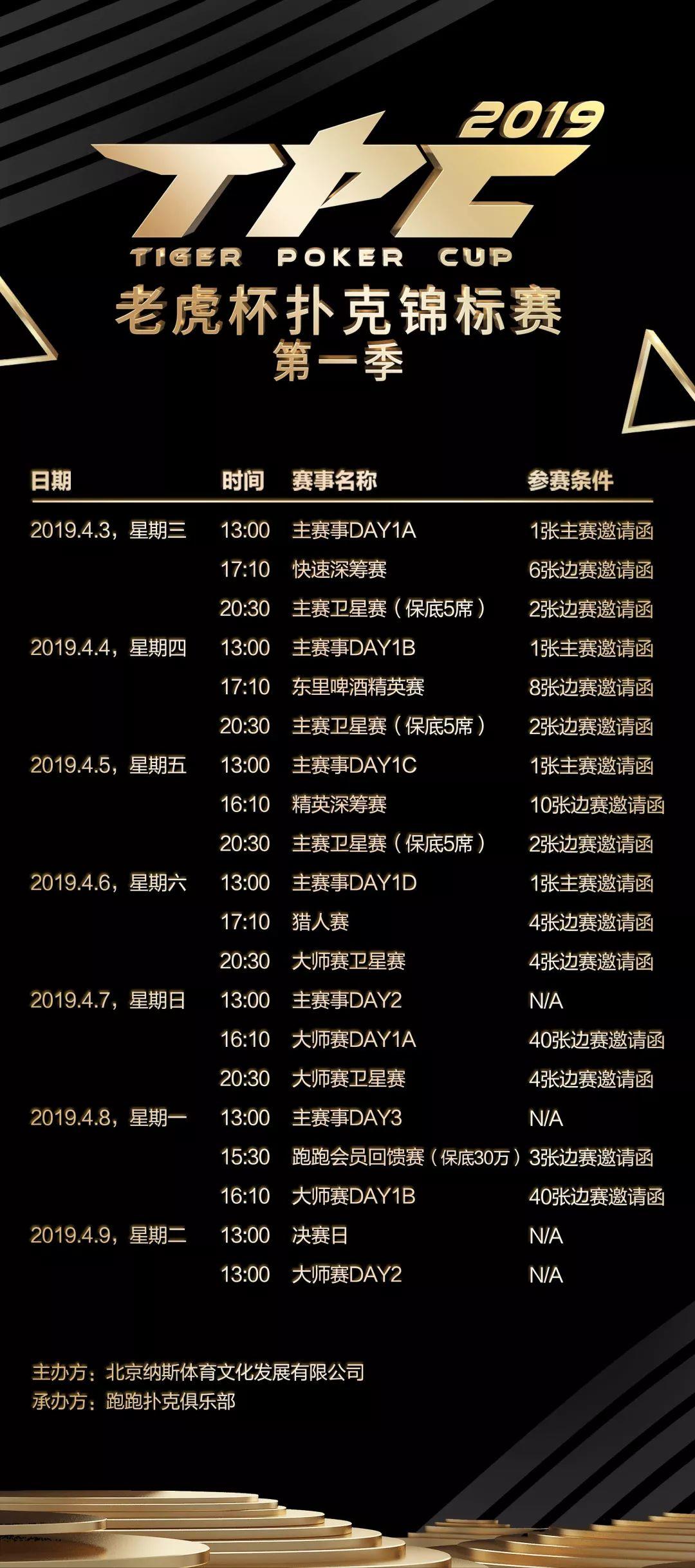 2019年TPC老虎杯第一季赛程信息