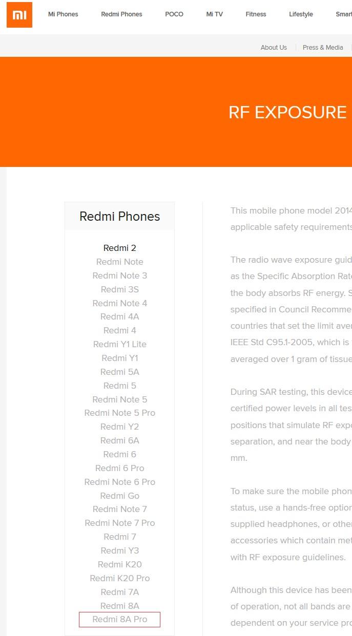 红米新款Redmi 8A Pro通过RF认证,即...