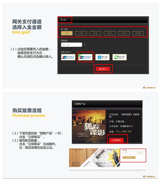 长润影视中心销售的电影版票购买流程(网站截图)