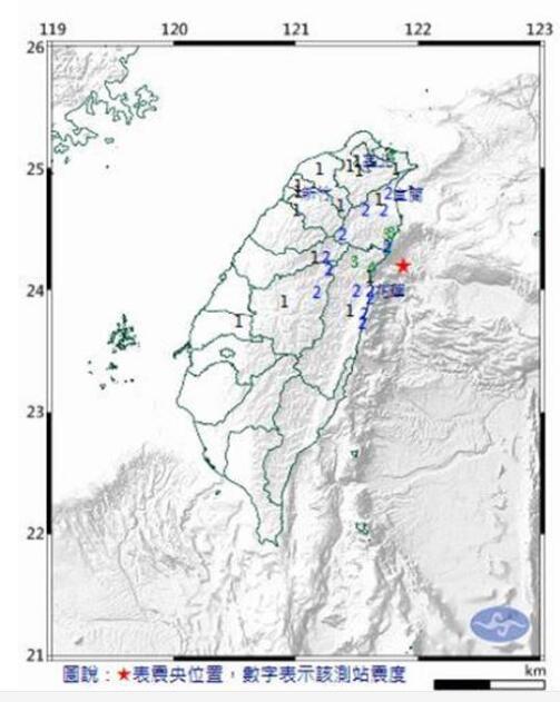 花莲æ・±å¤œåˆ°æ¸…晨发生多èµ・地震。(图片取自台媒)