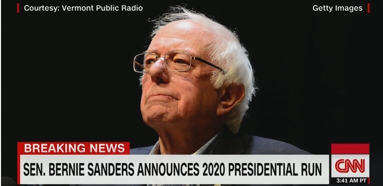 CNN:参议员桑德斯宣布参与2020年总统大选