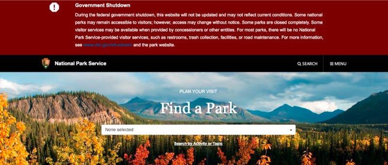 图片来源/美国国家公园管理局官网截图。