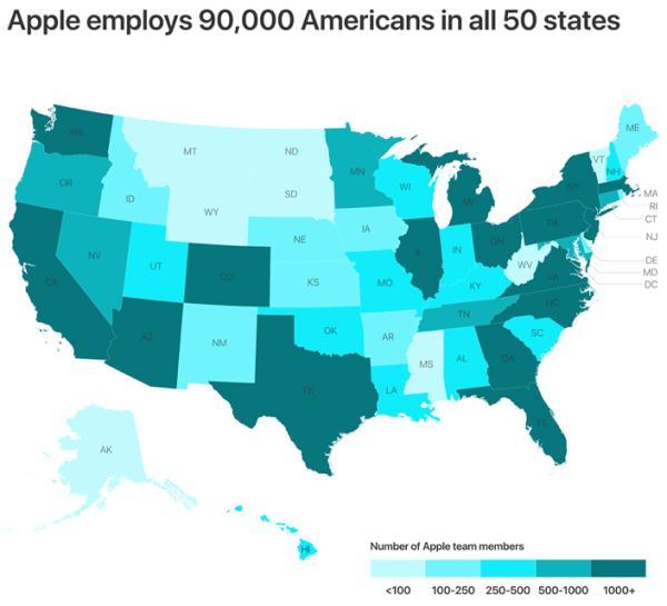 苹果在全美50个州的9万名员工分布 苹果 图