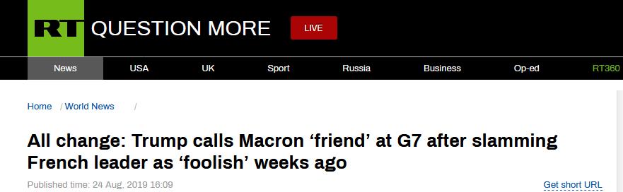 """骂过马克龙""""愚蠢"""" 特朗普又以朋友相称关系特殊"""