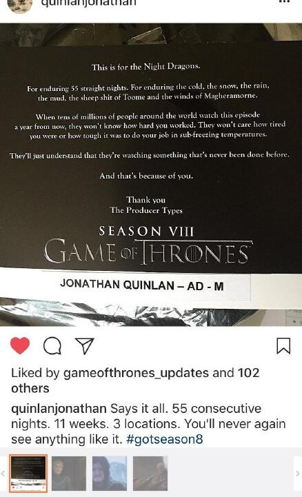 《权力的游戏第八季》拍战争戏 助理导演发文感谢