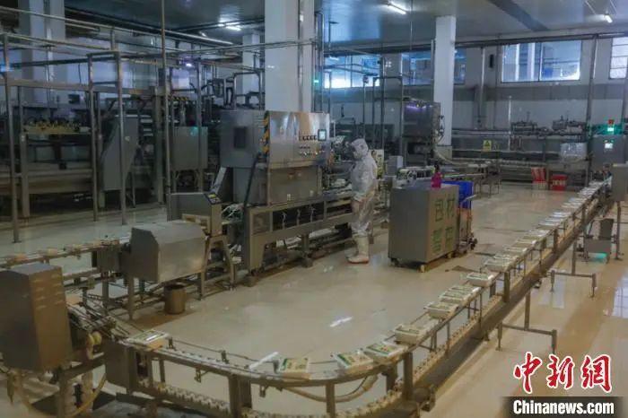 图为北大荒集团员工在豆制品生产线上工作。 吕品 摄