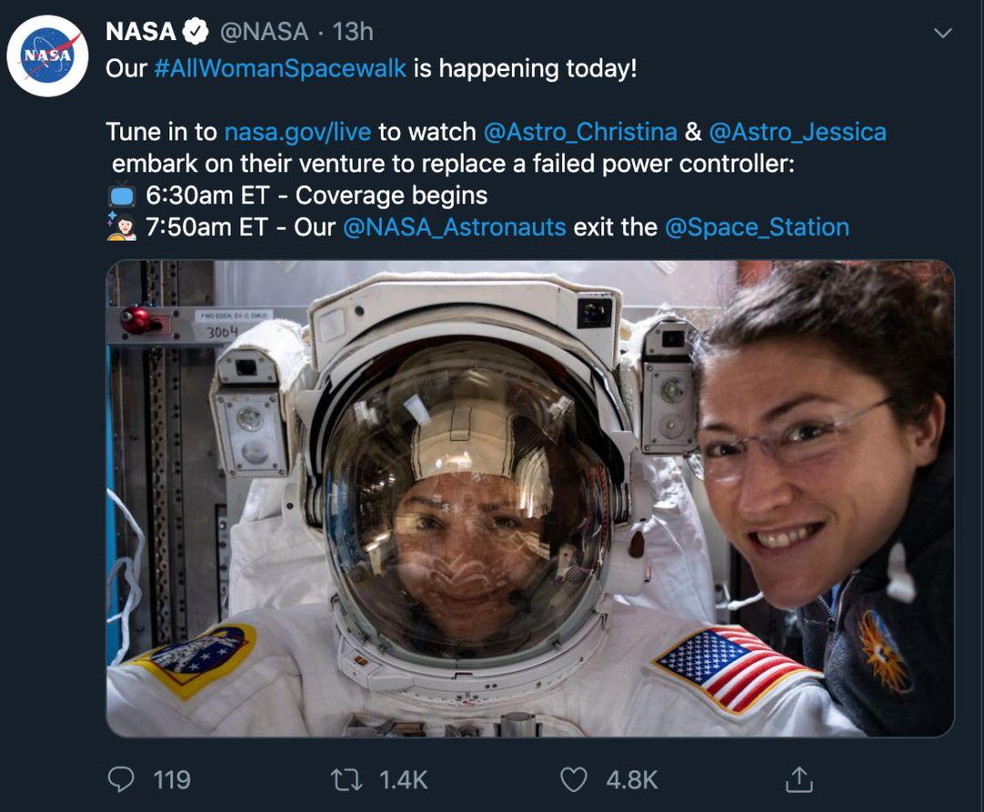 【蜗牛棋牌】史上首次全女性太空漫步结束 在太空行走是啥感觉