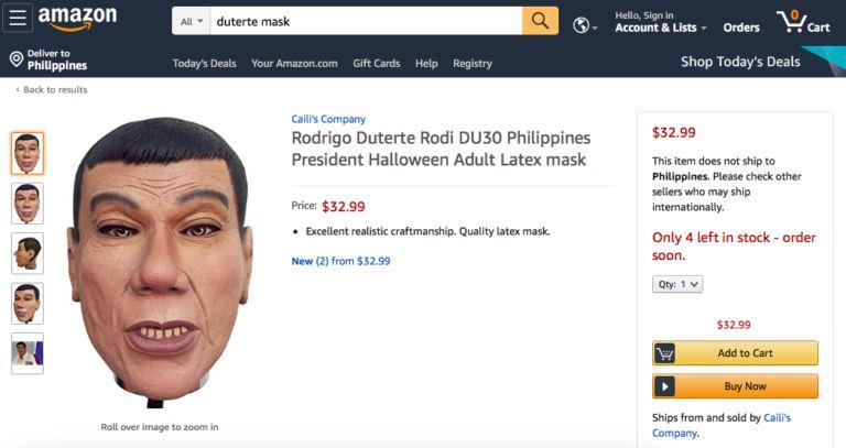 杜特尔特面具开卖 菲总统府:希望能吓退犯罪分子