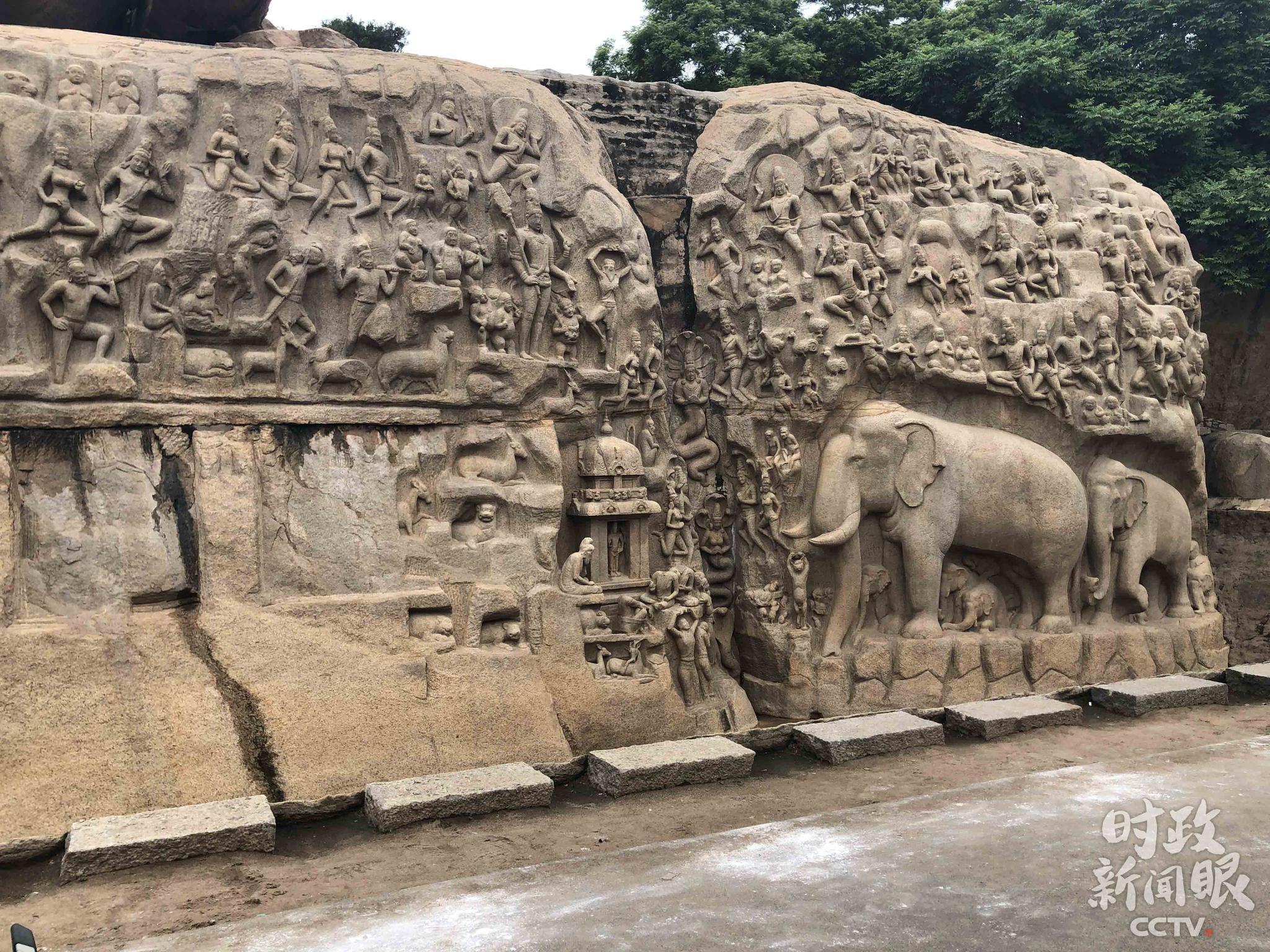 △阿周那石雕是在一块15米宽、30米长的岩石上雕刻而成,完成于7世纪中期,是印度最大的浮雕。(央视记者马亚阳拍摄)