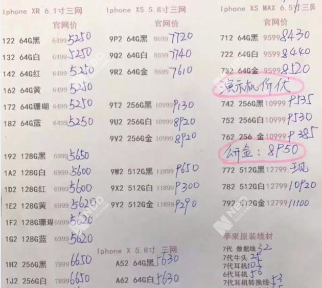 ▲刘宇提供的报价单(新机型),注意,这是渠道价还不是最终售价 图片来源:受访者供图