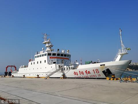 """中国海洋科考船""""旭日红""""(视觉中国)"""