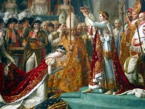 △拿破仑与其皇后加冕礼。