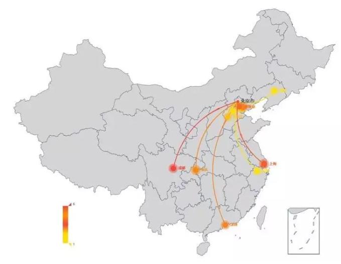 """图:""""北京大妞""""境内消费金额最多TOP10城市"""