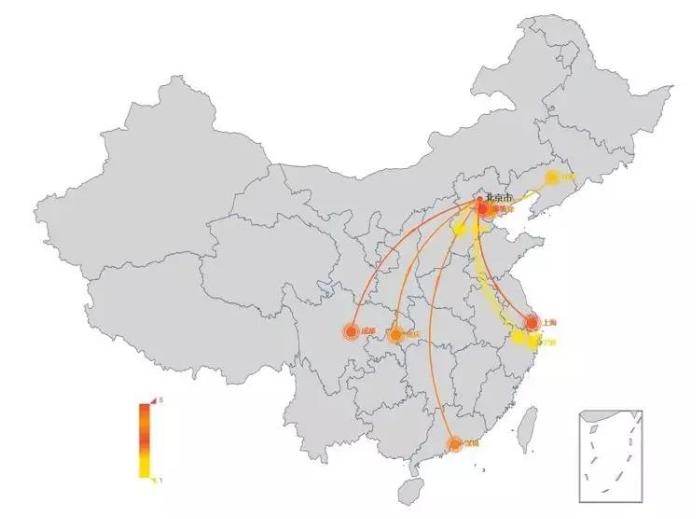 """图:""""北京大妞""""境内消费人数最多TOP10城市"""