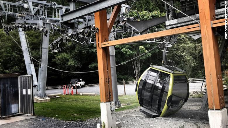 """一辆""""海天缆车""""坠落在地上,图源:CNN"""