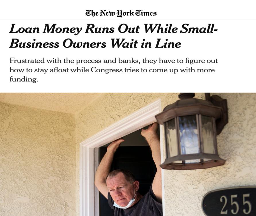 △《纽约时报》发文称,正当小企业排成长队地等待救助时,企业救助金却告罄了