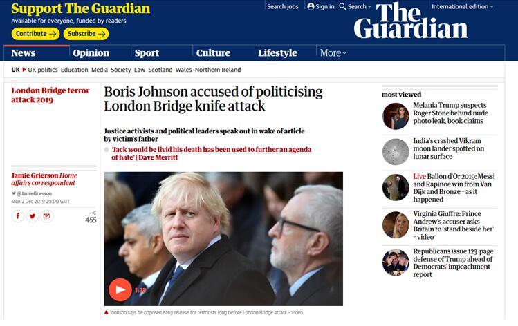 英国伦敦桥恐袭遇难者父亲发文批评首相