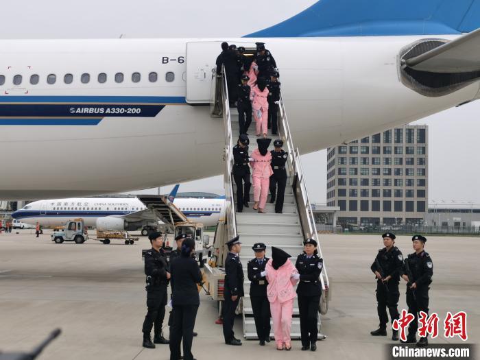 资料图:10月15日,河南警方将136名电信诈骗嫌犯从老挝押解回国 刘鹏 摄