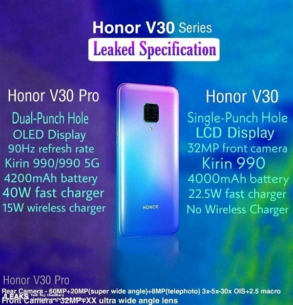 荣耀V30 Pro的外观和配置图曝光,采用渐变色机身设计