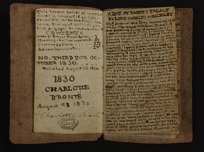 夏洛蒂·勃朗特少年时代创作的迷你小书,长6.1厘米、宽3.5厘米、共20页。