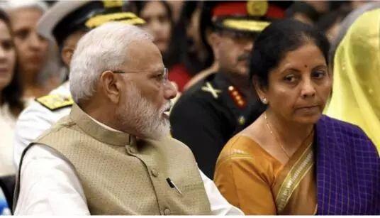 印度总理莫迪与印度财政部长尼尔玛拉·西塔拉曼