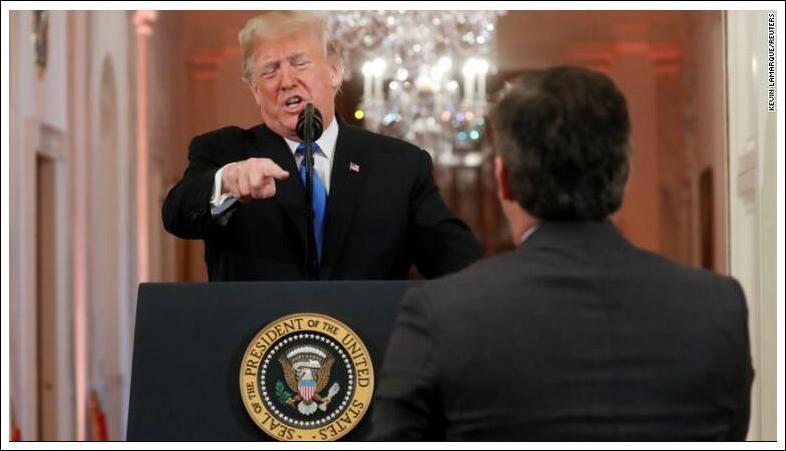 CNN报道截图:特朗普怒斥记者