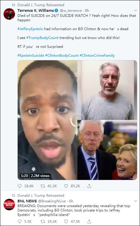 特朗普转推阴谋论 图自推特