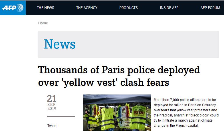 为避免黄马甲周末闹事 巴黎警方计划出动7500人