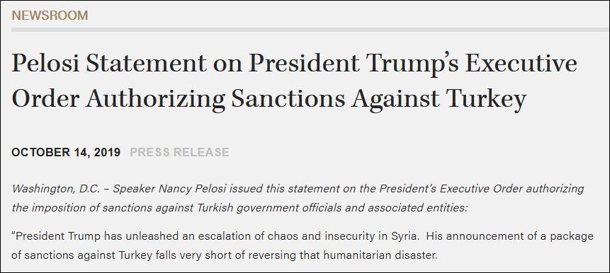 特朗普刚制裁土耳其 老对手佩洛西就发声了_意大利新闻_意大利中文网