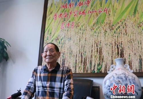 袁隆平9月5日在湖南长沙接受媒体采访时透露,超级稻有可能在10月突破大面积亩产1200公斤大关。 刘双双 摄