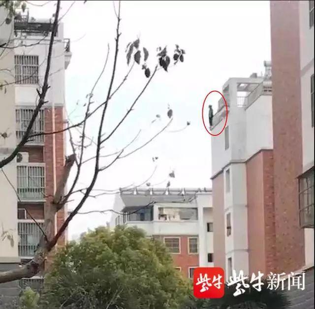 女生站在六楼楼顶要跳楼。 截屏图
