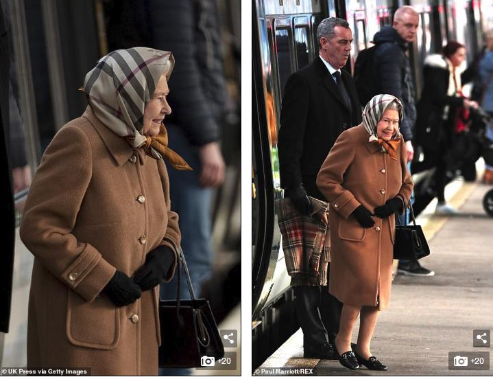 92岁的英国女王被拍到独自乘坐火车表出。(图:每日邮报)