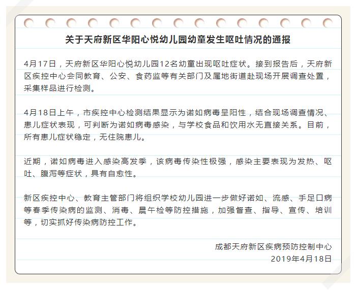 成都华阳心悦幼儿园12名幼童呕吐症状:诺如病毒感染
