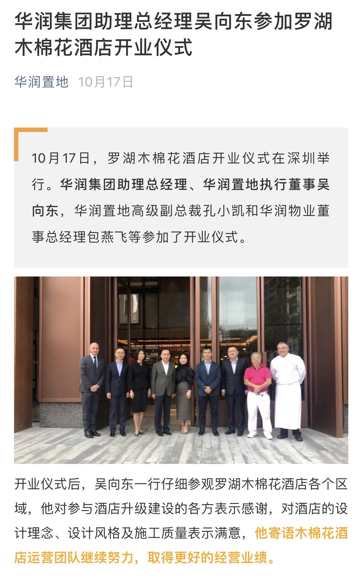 吴向东离任华润置地首席执行官