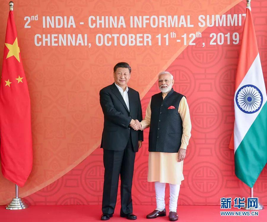 10月12日,国家主席习近平在金奈同印度总理莫迪继续举行会晤。新华社记者 谢环驰 摄