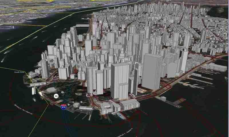 2006年Google Earth早期版本的纽约市地图。摄影:美联社