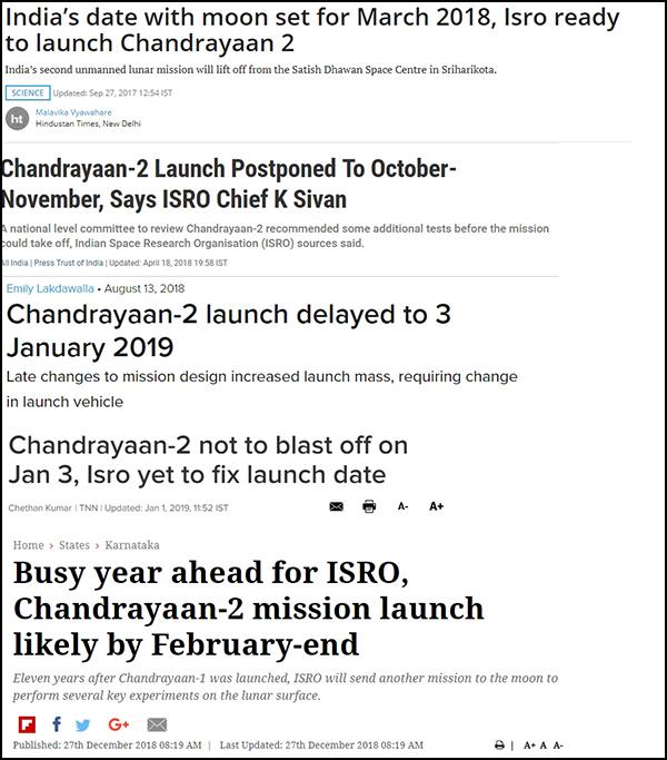 """一年众以来印媒关于""""月船二号""""延期发射的报道,最新的一篇引述金思旺往年的外态:""""2月终之前发射"""""""