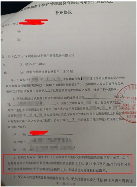 (合计42%的优先固定分红合同,鼎益丰原始股认购协议)