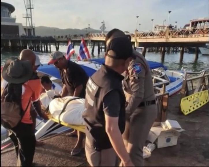男子遗体被泰国警方运往查龙码头。图据梨视频