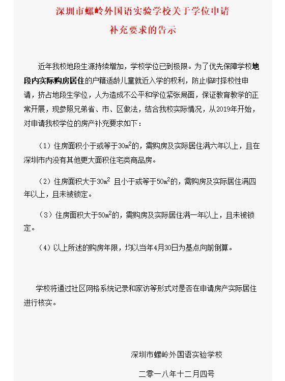 深圳某小学50平米以下学区房将被限制入学 买不起大房子就不能上学?