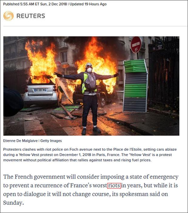 """路透社在12月2日报道中,称抗议活动为""""暴乱""""(riots) 截图自路透社"""